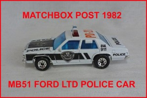 Matchbox MB51 Ford LTD Police Car
