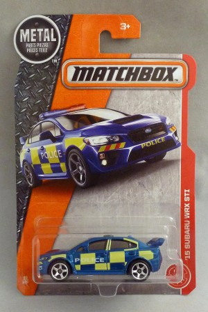 Matchbox MB60 '15 Subaru WRX STI Police Car Long Card