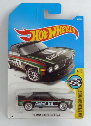 "HotWheels '73 BMW 3.0 CSL Race Car Castrol 7 ""HW Speed Graphics"" 4/10 Long Card"
