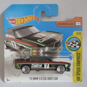 "HotWheels '73 BMW 3.0 CSL Race Car ""Castrol 7"" Short Card"