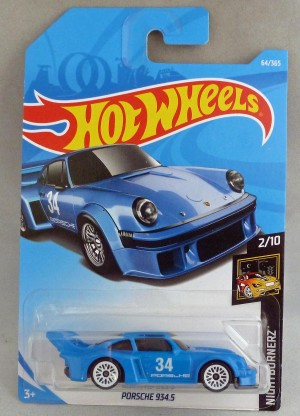 "HotWheels Porsche 934.5 Blue ""Nightburnerz"" 2/10 Long Card"