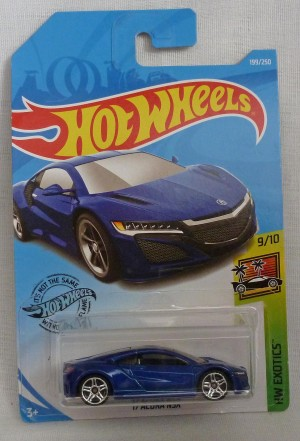"HotWheels '17 Acura NSX Blue ""HW Exotics"" 9/10 Long Card"