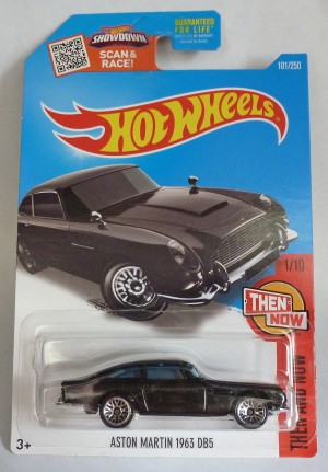 "HotWheels Aston Martin DB5 Metallic Black ""Then and Now"" Long Card 1/10"