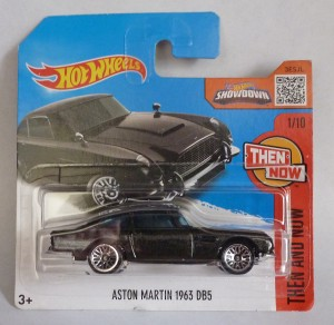 "HotWheels Aston Martin DB5 Metallic Black ""Then and Now"" Short Card 1/10"