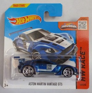 "HotWheels Aston Martin Vantage GT3 Blue ""HW Race"" Short Card"