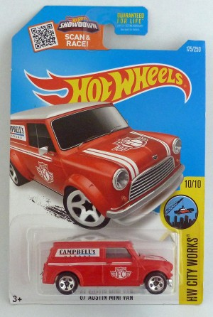 "HotWheels '67 Austin Mini Van Red ""HW City Works"" Long Card"
