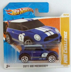 "HotWheels Mini Cooper Challenge Blue ""HW Premiere"" Short Card"