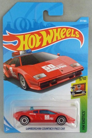 "HotWheels Lamborghini Countach Pace Car Red ""HW Exotics"" Long Card"