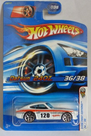 HotWheels Datsun 240Z White with 120 Tampos 2006 First Editions