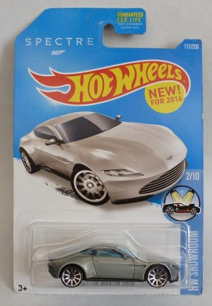 "HotWheels 007 James Bond Aston Martin DB10 SPECTRE ""HW Showroom"" Long Card 2/10"
