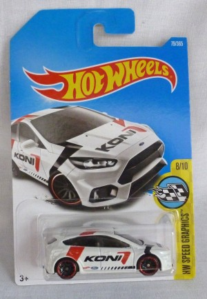 "HotWheels Ford Focus RS White ""HW Speed Graphics"" 8/10"