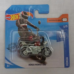"HotWheels Honda Monkey Bike Z50 ""Honda"" 3/5 Red Short Card"