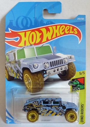 "HotWheels Humvee Blue ""Dino Rides"" 5/5 Long Card"