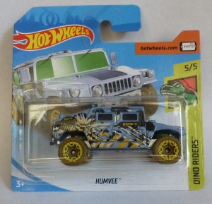 "HotWheels Humvee Blue ""Dino Rides"" 5/5 Short Card"