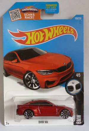"HotWheels BMW M4 Metallic Red ""BMW"" 4/5 Long Card"