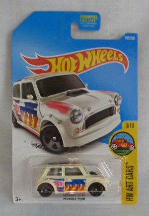 HotWheels Morris Mini HW Art Cars 3/10 Pale Cream Long Card