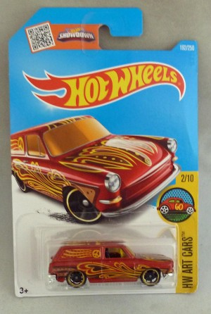 "HotWheels Volkswagen Custom '69 Squareback Red ""HW Art Cars"" 2/10 Long Card"